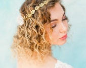"Asymmetric elegant wedding flower crown with gold and blush silk flowers ""Arden"""