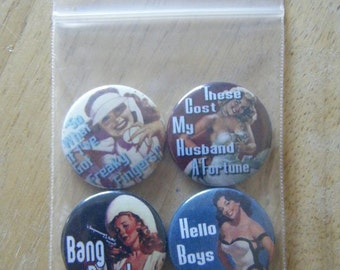 Four retro pin up girls pinback buttons/badges set - On SALE