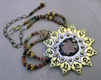 Heart Chakra Necklace with Watermelon Tourmaline, Spiritual Love Symbol, Mandala Amulet, Heart Chakra Activator, Handmade