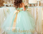 READY to SHIP - Size 4 Full Length - Mint Green and Gold Tutu Dress