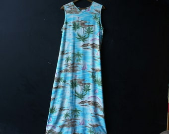 Bohemian Maxi Dress Sleeveless Hawaian Dress With Palm Trees Size 10 Vintage From Nowvintage on Etsy