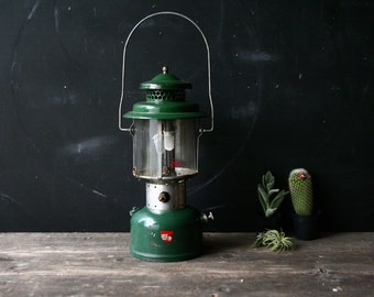 Coleman Lantern Vintage Camping Equipment Green Metal and Glass Vintage From Nowvintage on Etsy