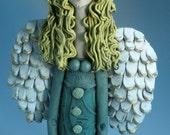 ANGEL, Clay Angel with Bird, Ceramic Angel, Angel Figurine, Women Sculpture, CERAMIC SCULPTURE, Clay Figure, Female, Human Form