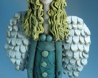 ANGEL, Clay Angel with Bird, Ceramic Angel, Angel Figurine, Women Sculpture, CERAMIC SCULPTURE, Clay Figure, Female, Human Form