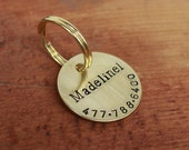 Personalized dog ID tag pet - Hand stamped disk