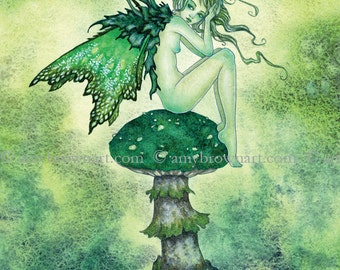 Toadstool fairy 8X10 PRINT by Amy Brown