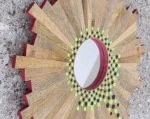 OOAK Hand Painted Polka Dotted Dots Wooden Sunburst Mirror - Magenta, Pink, Lime, Black, Natural Aboriginal Influenced