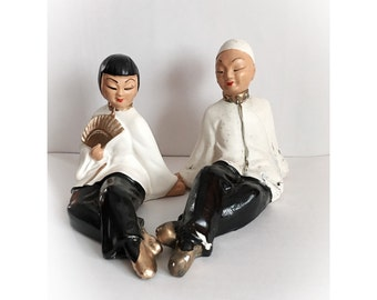 Vintage Asian Chalkware Man and Woman Couple Figurines