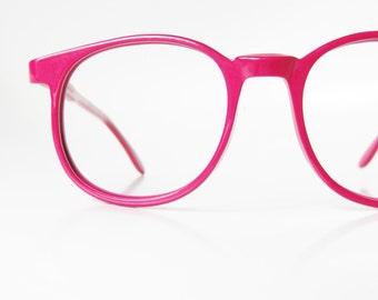 Vintage Pink Eyeglasses 1960s Round Designer Eyeglass Frames Hand Made 60s Round P3 Tart Optical Raspberry Geek Chic
