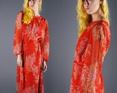 Vintage 70's Adele Simpson Dress Red Sheer Chiffon Ethereal Dress Floral Boho Dress with Braided Detail and Belt Size Large Bust 40
