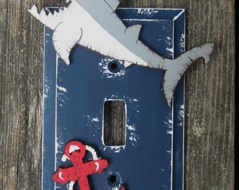 NAUTICAL Kids Switch Plate Cover - Original Hand Painted Wood