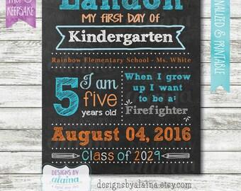 Boy 1st Day of School Chalkboard Sign Poster, First Day Preschool, Kindergarten, 1st Any Grade, Aqua, Orange, Personalized/Digital/Printable