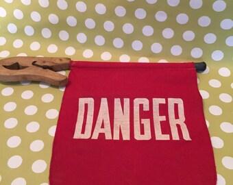 Sign..Danger Vintage Wooden Clamp