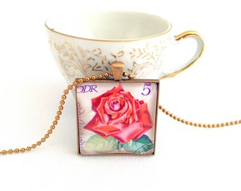 rose necklace, vintage postage stamp necklace, East Germany 1972 red rose jewelry, flower necklace