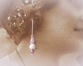 Upcycled Rose Pink and Lavender Earrings