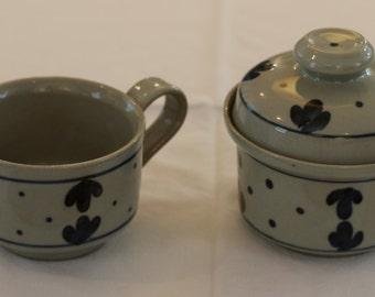 Sugar Bowl & Creamer - Iron Mountain Stoneware's 'Martha's Flowers' pattern