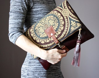 Large Leather fold over clutch, fold over bag, fold over purse, carpet bag,  tapestry fabric and mahogany leather clutch with leather tassel