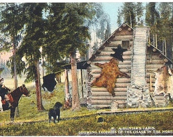 Antique Washington State Postcard - A Hunter's Cabin (Unused)