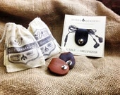 Valentines gifts for guys - leather cable organizer - small gifts - cord earphone tidy - IN STOCK