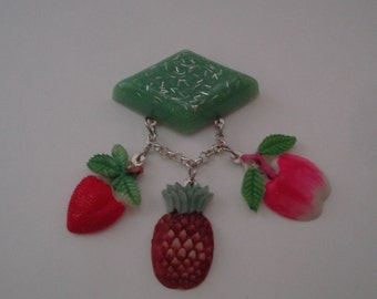 Fresh Fruit 1940s 1950s Retro Style Novelty Brooch Confetti Lucite Style Midcentury Inspired Fun by Red Hot Kitten