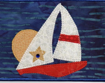 July 4th Sunset Cruise in Key West, Sailboat Regatta,  A Quilted Fabric Postcard