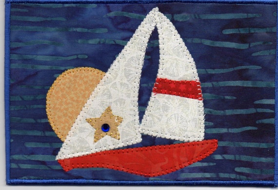 Sunset Cruise in Key West, Sailboat Regatta,  A Quilted Fabric Postcard