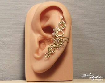 SUNSHINE EAR CUFF - wire wrapped ear cuff, no piercing ear cuff, adjustable ear cuff, brass ear cuff, elegant ear cuff, crystal ear cuff