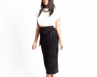 1990s Black Suede Leather Boho Fringe Midi Pencil Skirt