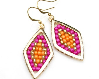 Diamond Gold Earrings Hot Pink Bright Orange Beaded Geometric Dangles Exotic Goddess Jewelry Marquise Moorish Moroccan Flare by Mei Faith