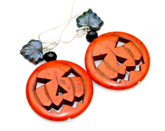 FALL SALE Halloween Pumpkin Earrings Orange Jack O Lantern Spooky Silver Dangles Funky Fun Fall Autumn Hallows Eve Festival by Mei Faith