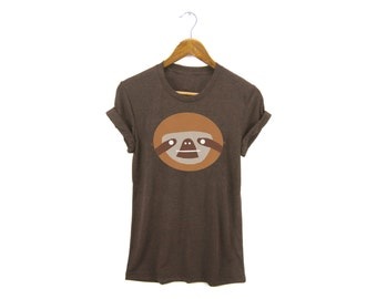 Geo Sloth Tee - Boyfriend Fit Crew Neck T-shirt with Rolled Cuffs in Heather Brown and Gold - Women's Size S-4XL