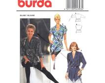 Wrap Blouse Pattern Burda 4393 Peplum Blouse Shaped Hem Short or Long Sleeve Long Top Womens Sewing Pattern Size 8 to 18 UNCUT