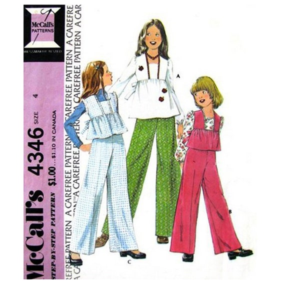 Girls Smock Top and Pants Sewing Pattern McCalls 4346 Trousers Size 4 Vintage