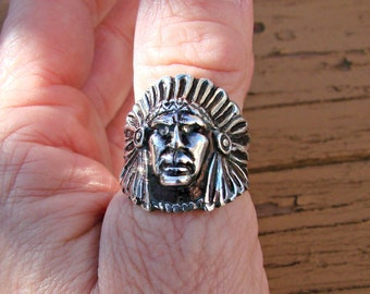 Classic Chief -Large Sterling Silver Ring # 330