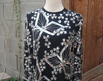Vintage 1980s Black Silk Top Silver Sequins & Beads Size M