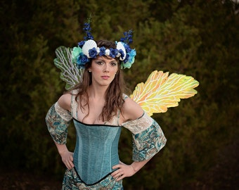 Corset, Light Blue Corset Custom XS - 3X, Mermaid, Steampunk, Renaissance, Victorain,  Costume