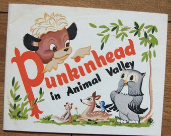 vintage 50s childrens book PUNKINHEAD in ANIMAL VALLEY guc sc