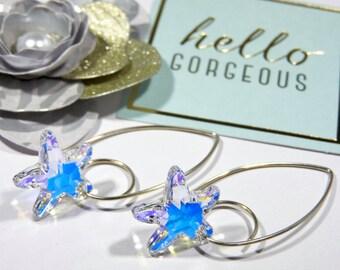 Crystal Starfish Trendy Sterling Silver Earrings/Swarovski Elements