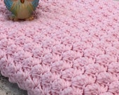 Hand Knitted Baby Girl Blanket with Hood - Baby Afghan - Gift for Baby - Pretty Sweet Pink - Traditional Nursery - Cottage Nursery - Hooded