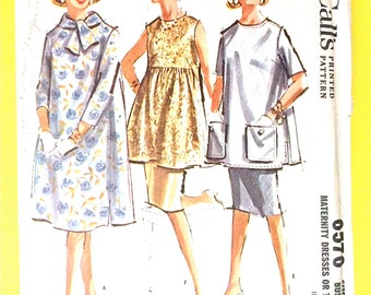 McCall's pattern 6576 Misses Maternity Dress or Top from the Early 1960s  Vintage Printed  Sewing Pattern Bust 32 inches