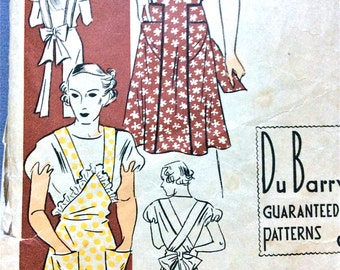 1930s DuBarry 1261B Apron Pattern Vintage Sewing Pattern 30s apron 1930 apron   Bust 36 to 38 inches