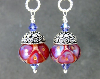 Colorful Glass & Sterling Silver Boho Chic Dangle Earrings Red Purple Pink Peach Boro Lampwork Earrings Sterling Silver Jewelry Boho Jewelry