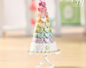MTO-Rainbow Hearts Tower - Pièce Montée Arc en Ciel - Miniature Food for Dollhouse 12th scale 1:12