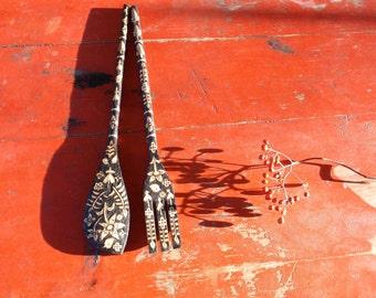 custom 12 inch salad fork and spoon serving set- flower lovebird hand drawn wood burned ooak design