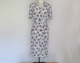 ALBERT NIPPON // graphic 1970s or 80s secretary dress with squiggles / L