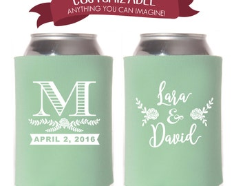 Personalized Monogrammed Can Cooler, Monogram Wedding Favors, Initials Party Gifts Anniversary Party Gifts Custom Beverage Can Cooler 4D113