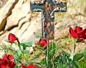 Cross Decor / Garden Stake / Garden Art /  Metal Yard Art / Religious / Garden Decor / Copper / Christian / Handmade Cross / Ornament / Gift