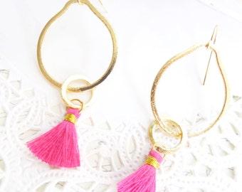 Eternity Circle Tassel Earrings - Interlocking Circle Charm Earrings - Satin Tassel Earrings - Pink Tassel - Gold Circle Tassel Earrings