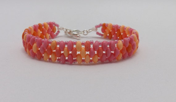 Pink, Orange, & Yellow Beaded Bracelet fits wrists 5 3/4 inches Sku: BR1023