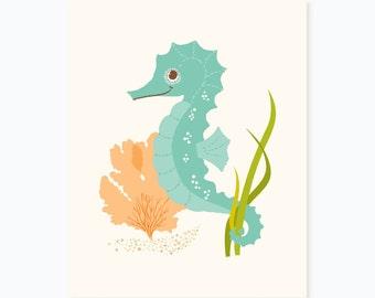 Seahorse - art print - nursery art for children